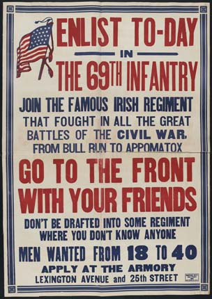 Recruitment poster for the 69th Infantry