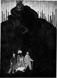 Black and white print showing lurking mountain and three figures in foreground.