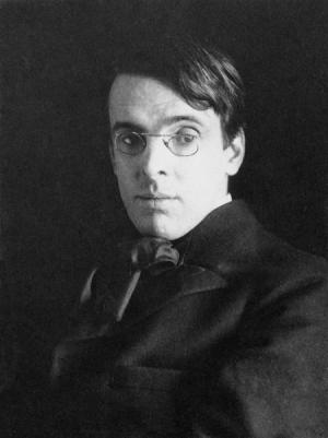 Yeats. Black and white of head and shoulders. Glasses.