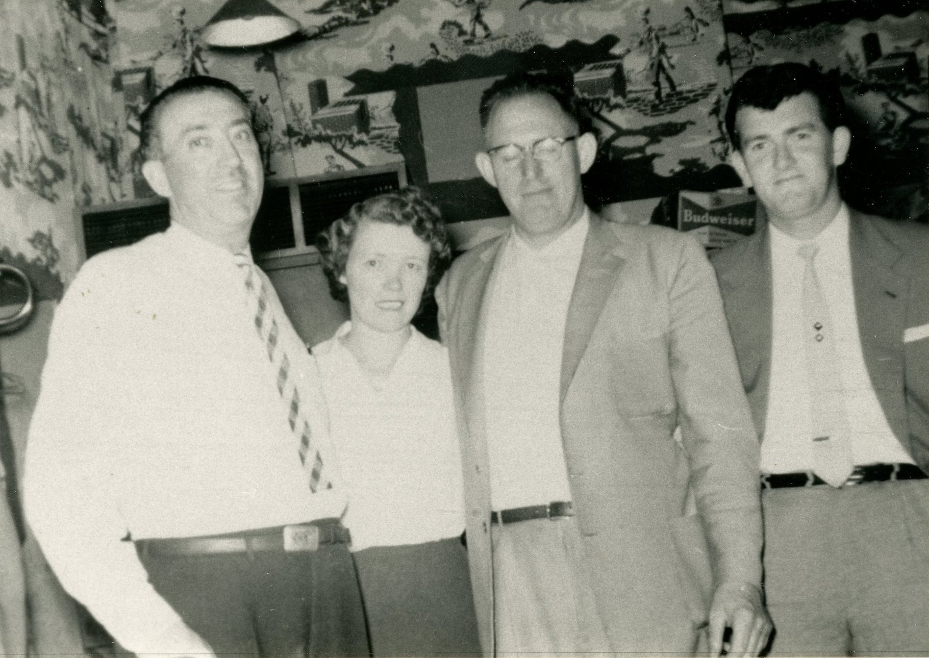 Jack Hanley (owner of Hanley's House of Happiness), wife [Agnes?] Hanley, Pat Curtin, unknown