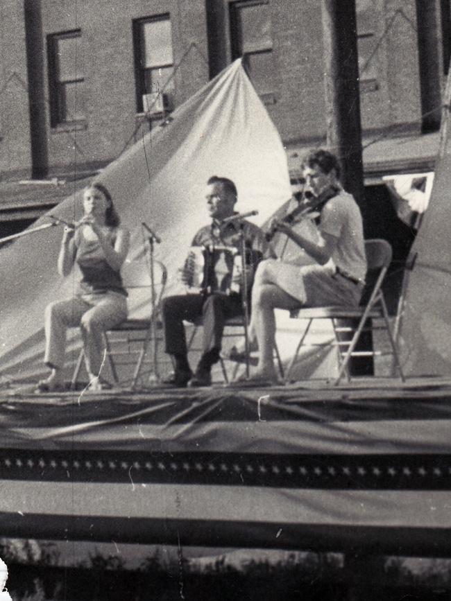Performance at a Local Parade (c. 1975). Laura MacKenzie, Martin McHugh, Jamie Gans (Courtesy Jamie Gans)