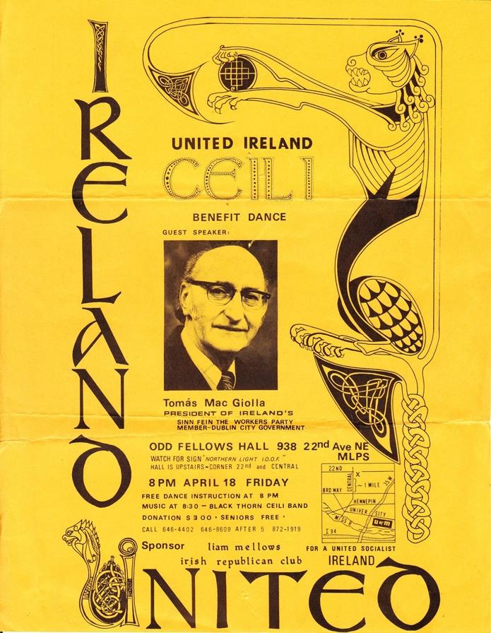 Poster for a United Ireland Céilí featuring the Blackthorn Céilí Band. (Contributed by Sheila Jordan)