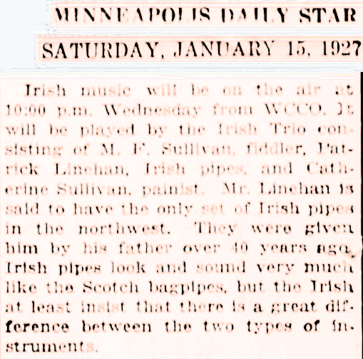 Newspaper clipping from 1927.