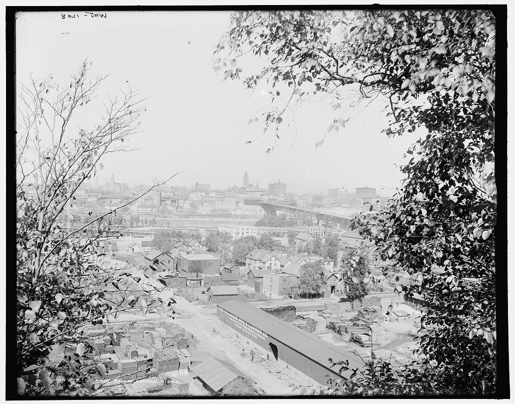 An old black and white photo taken in 1902 of the city of Saint Paul in the distance, framed by tree branches.