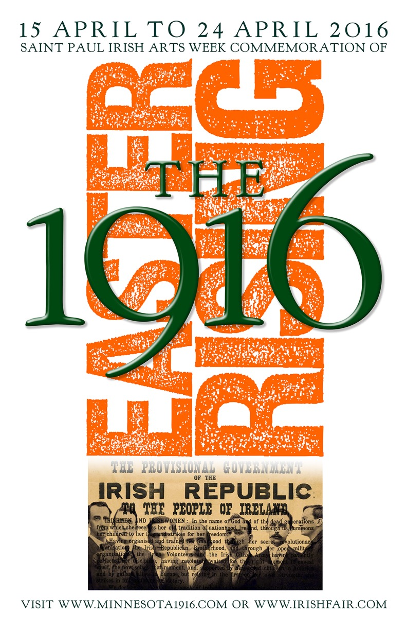 """Easter Rising 1916"" Image with text in a poster for Irish Arts Week 2016."