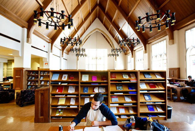 Vaulted ceiling, heavy iron light fixtures, and bookshelves all around make for a great place to study.