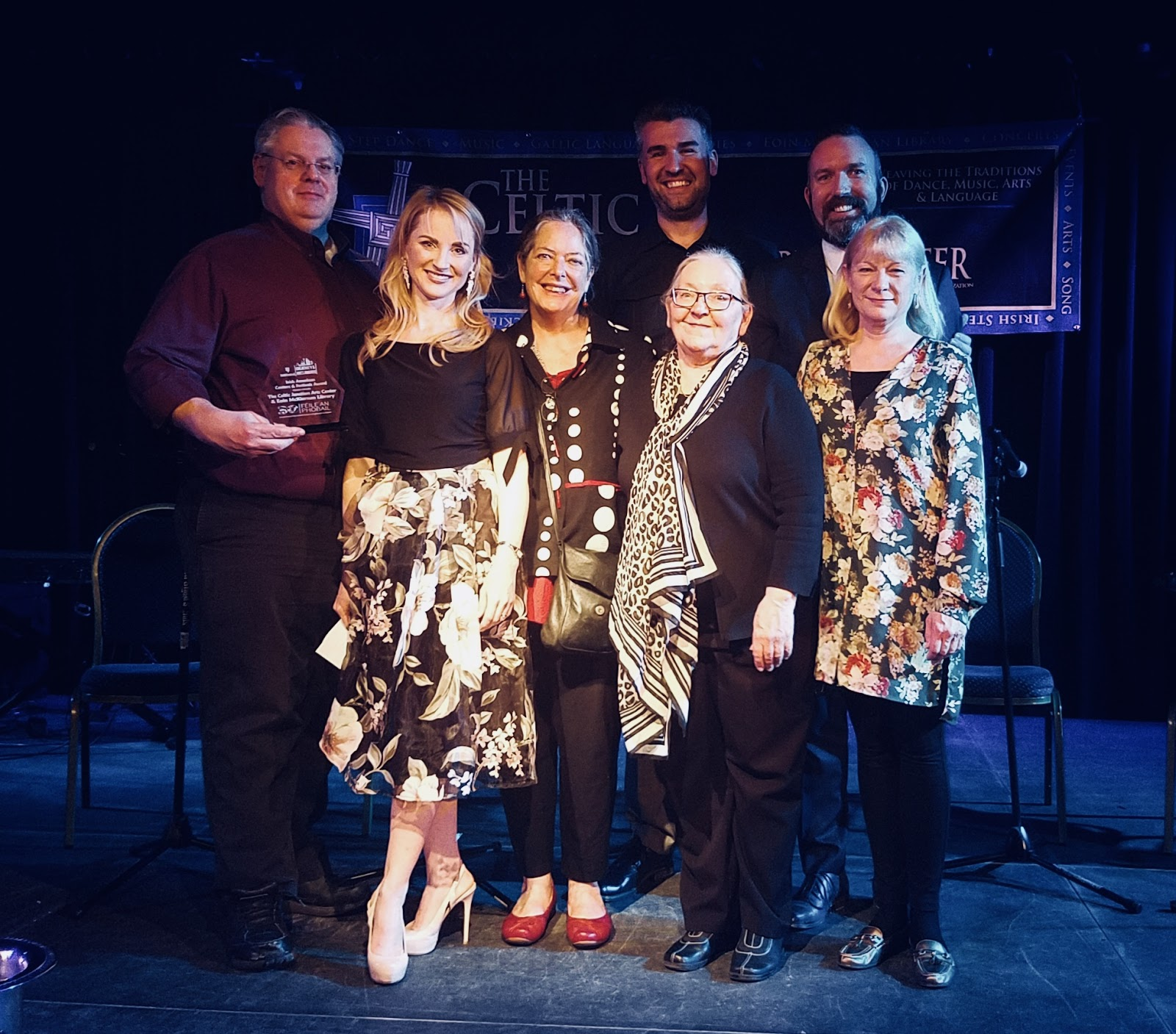 """Presenting the Irish Central """"Creativity and Arts"""" Award to Celtic Junction Arts Center for """"Best Irish American Center/Festival"""" with CJAC's Board of Directors (left to right; Michael Gibbons, Natalie Nugent O'Shea, Mary Lane, Cormac O'Se, JoAnn Vano, Vice Consul of the Midwest Justin Dolan, Laura MacKenzie, and Sally Evans (not pictured)."""