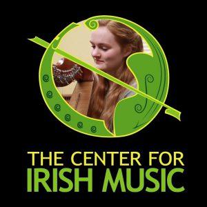CIM logo with harpist