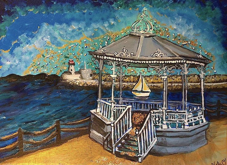 Dun Laoghaire pier, a painting by Kate O'Donnell
