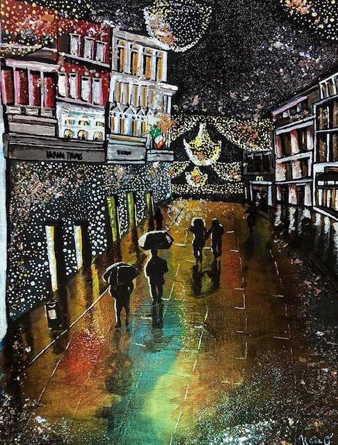 Grafton Street, a painting by Kate O'Donnell