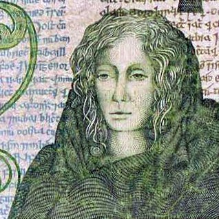 The picture of Medb on an Irish Series B one pound banknote.