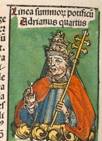 Pope Adrian IV, 15th century illustration