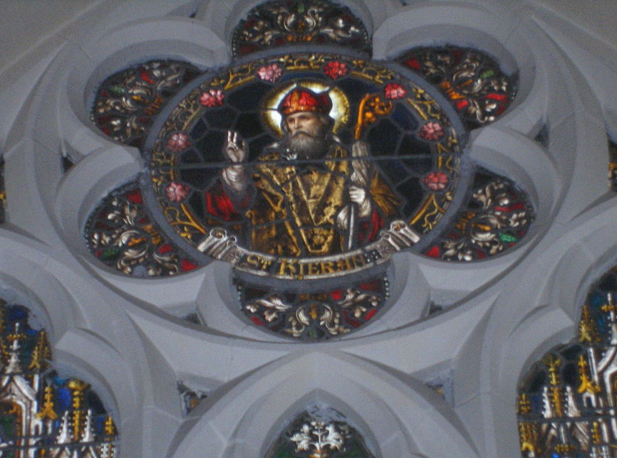 Window depicting St. Kieran, Seir Kieran Church, Bell Hill, cropped