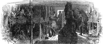 Below deck of a coffin ship. Illustration.