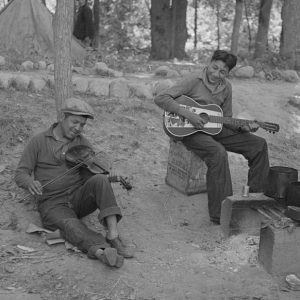 Native American musicians at a blueberry camp near Little Fork, Minnesota, 1937