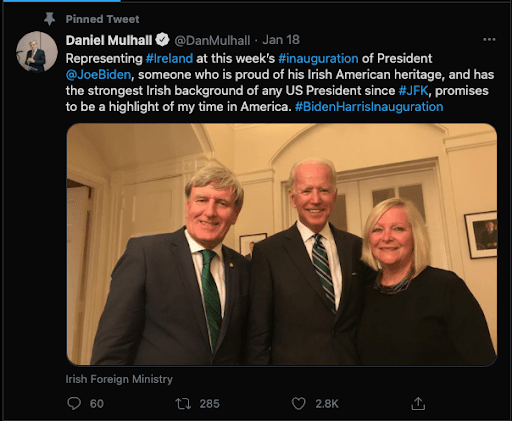 Daniel Mulhall's tweet about the 2021 inauguration.