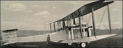 Sideview of parked Vimy Vickers.