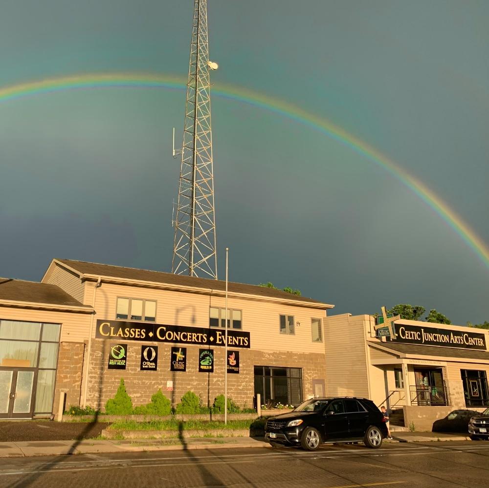 Celtic Junction brick and mortar + rainbow!