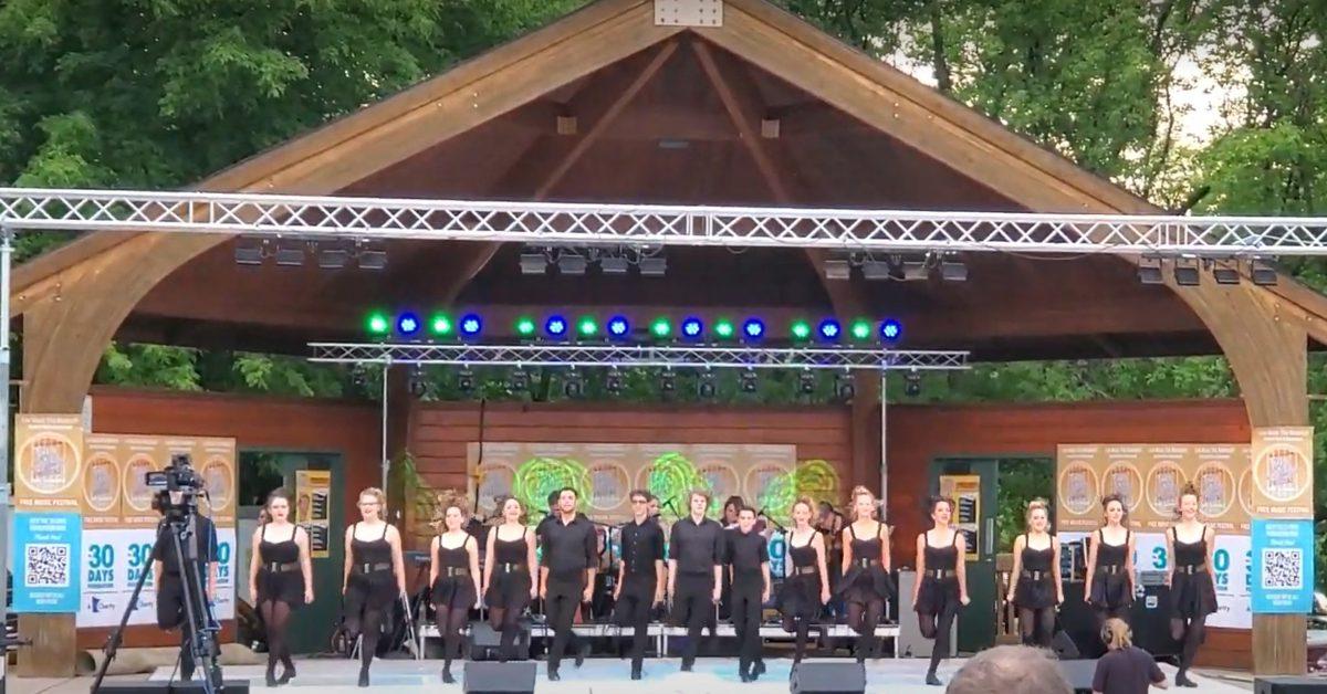 Kickin' It Irish line on front of stage at Rosemount performance.
