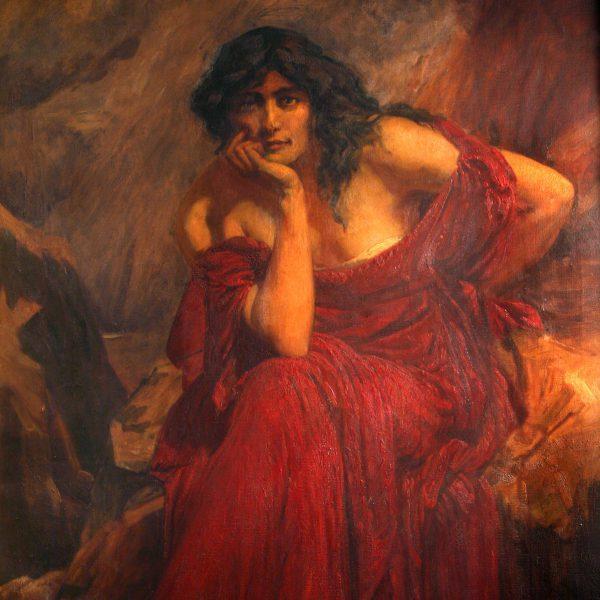 The Mabinogion. Ceridwen wearing a red dress.