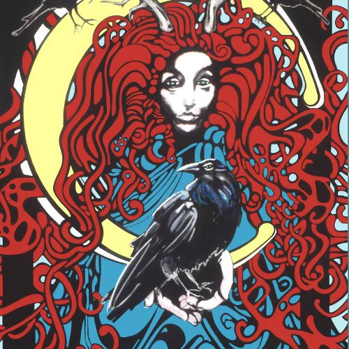 Graphic image of red haired woman holding a crow. Hair is tangled and knotted and two horns stick up above the top of her head. The full moon appears behind her similar to a crown or halo.
